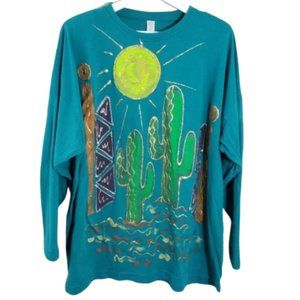 Vintage Retro Hand-painted One Size Cactus Tee